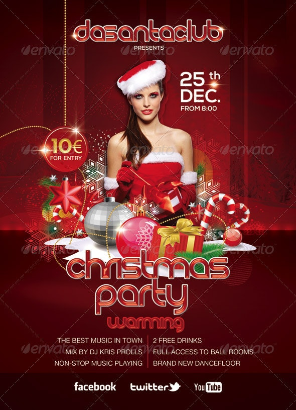 Red Christmas Party 25th December - Events Flyers