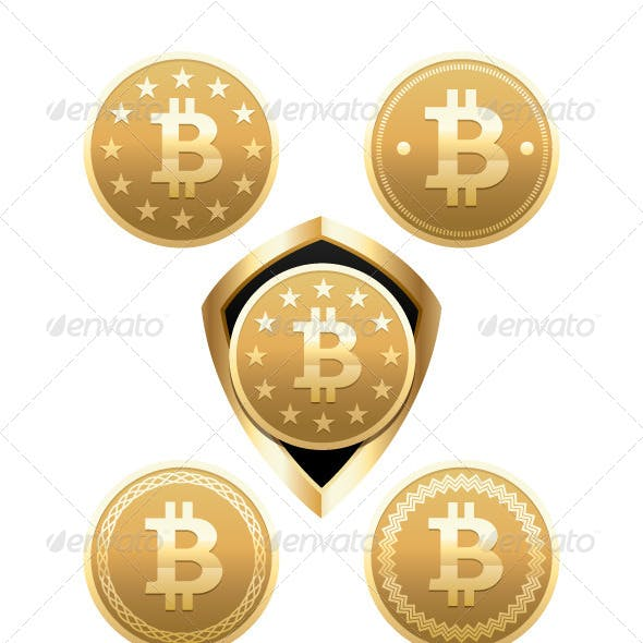 Bitcoin Digital Money Vector Elements