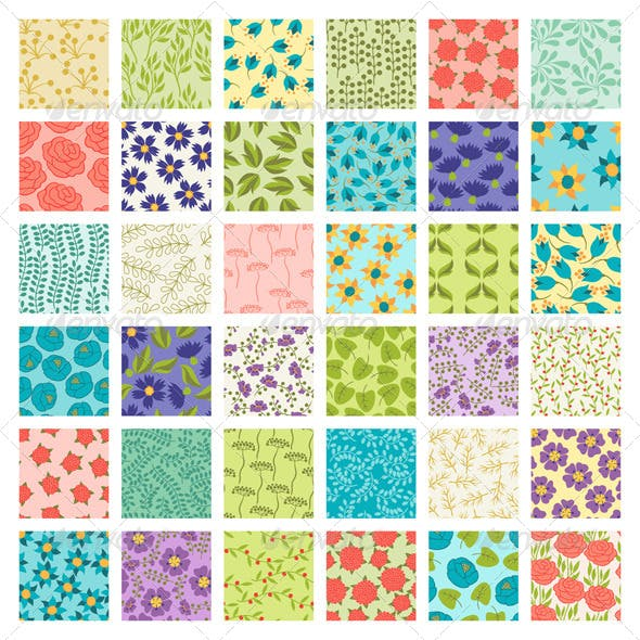 Set of 36 Seamless Floral Patterns