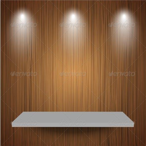 Shelf on Wooden Background