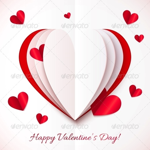 Red and White Cutout Paper Heart - Valentines Seasons/Holidays