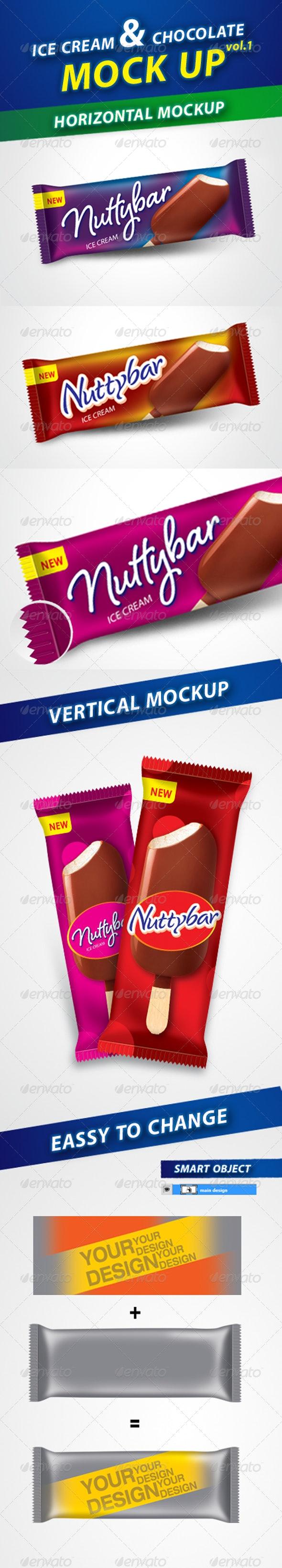 Ice Cream & Chocolate Bar Mockup - Packaging Product Mock-Ups