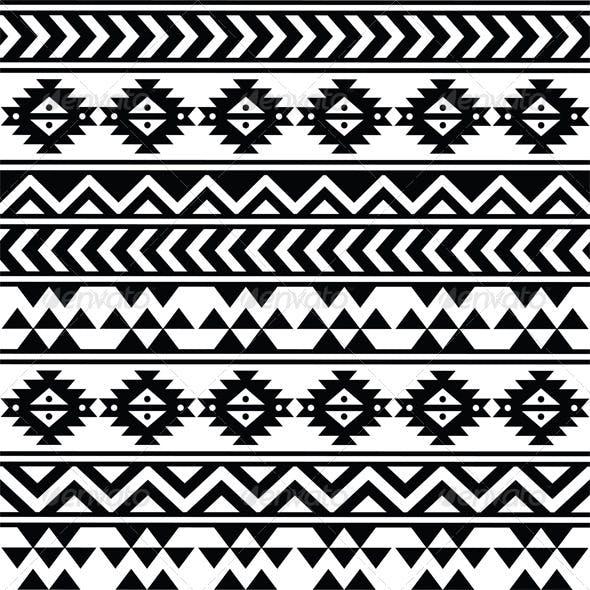 Aztec Tribal Seamless Black and White Pattern