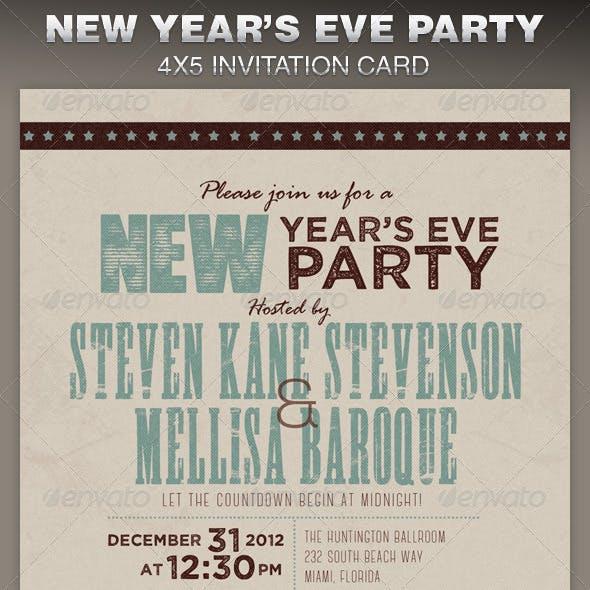 Retro New Year Party Invite Card Template
