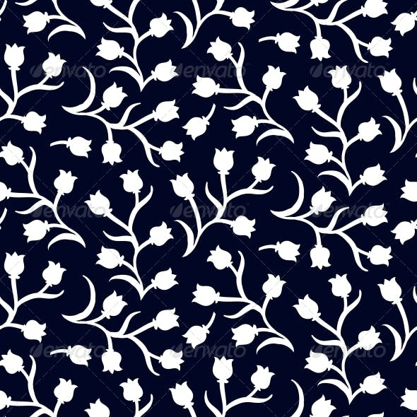 Ditsy Floral Pattern with Small White Tulips