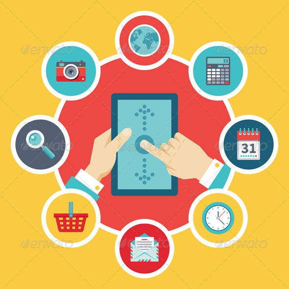 Tablet PC with Hands & Icons