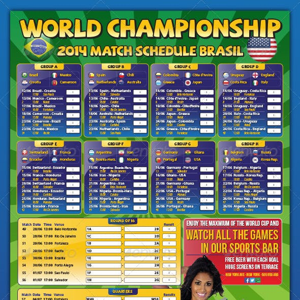 Brazil Match Schedule Championship Soccer 2014