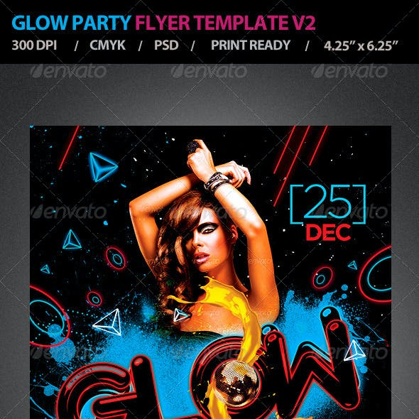 Glow Party Flyer Template V2