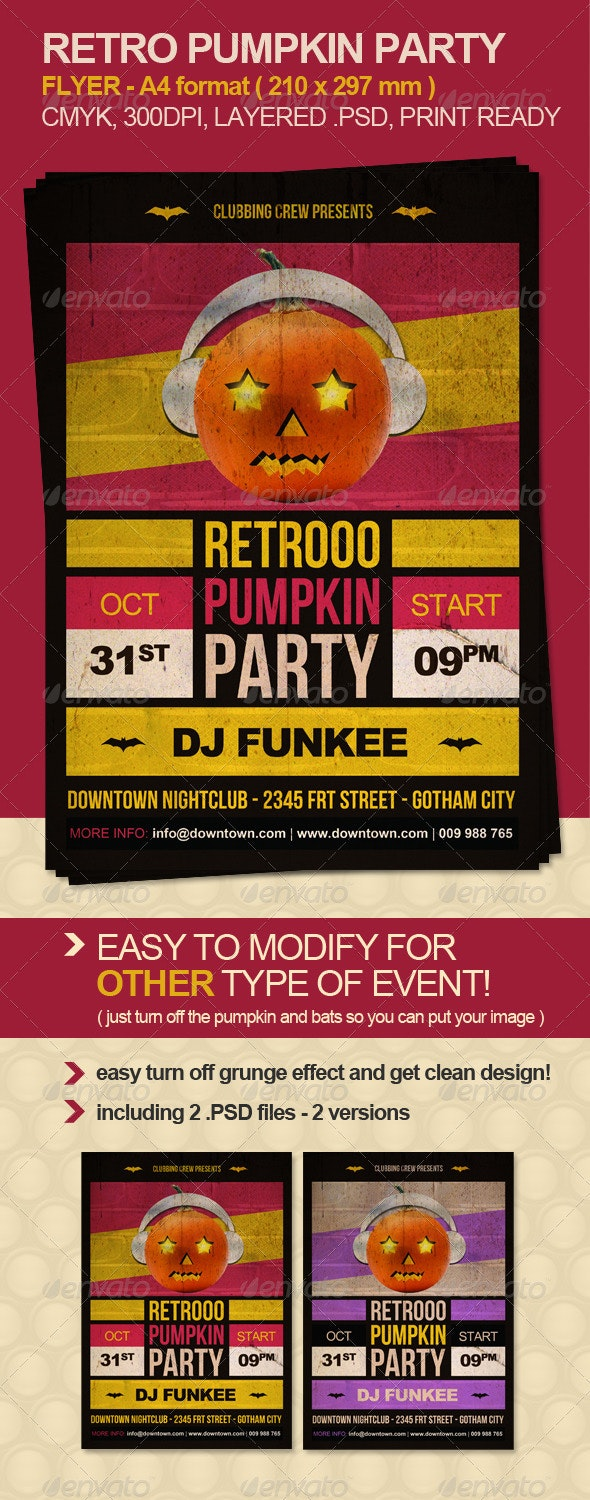 Retro Pumpkin Party Flyer - Clubs & Parties Events