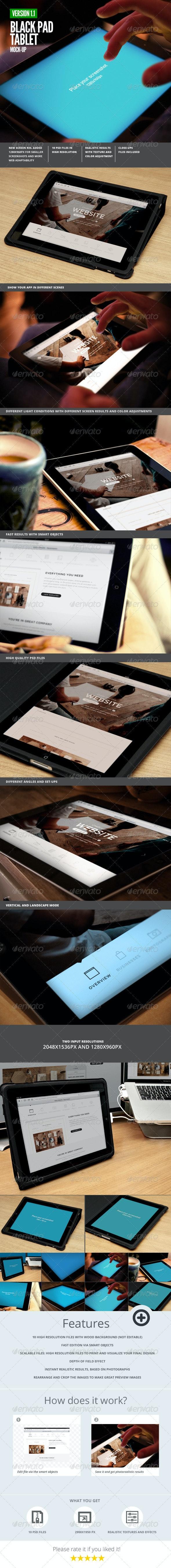 Black Pad | Tablet App UI Mock-Up - Mobile Displays