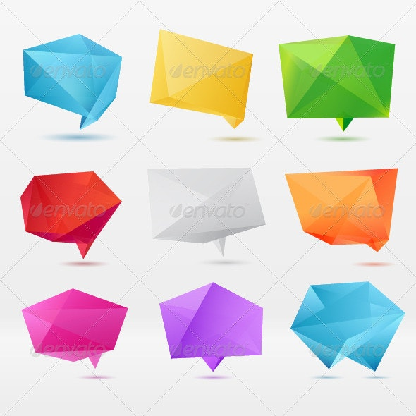 Abstract Origami Speech Bubble - Abstract Conceptual