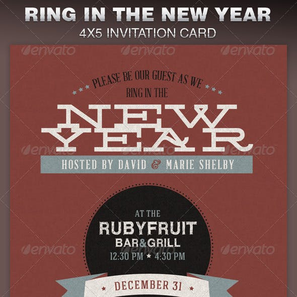 Ring in the New Year Party Invite Card Template