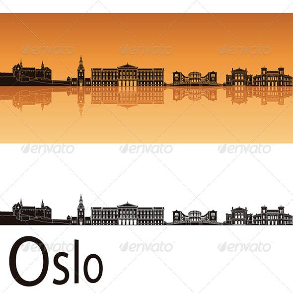 Oslo Skyline in Orange Background