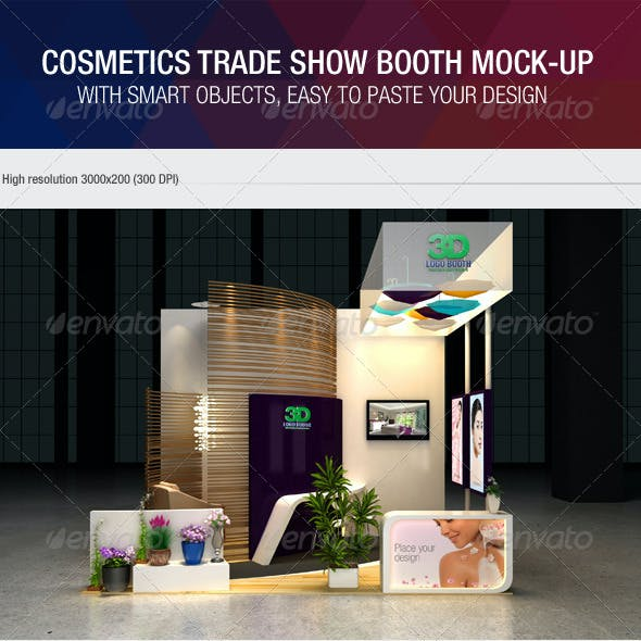 Cosmetics Exhibition Booth Mock-Up