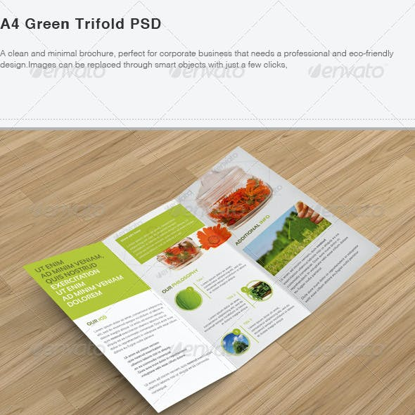 A4 Green Trifold PSD