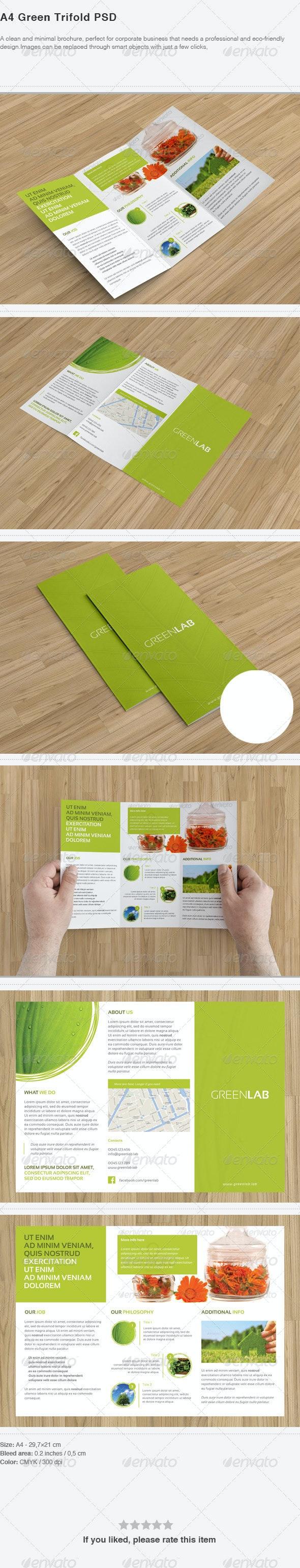 A4 Green Trifold PSD - Brochures Print Templates