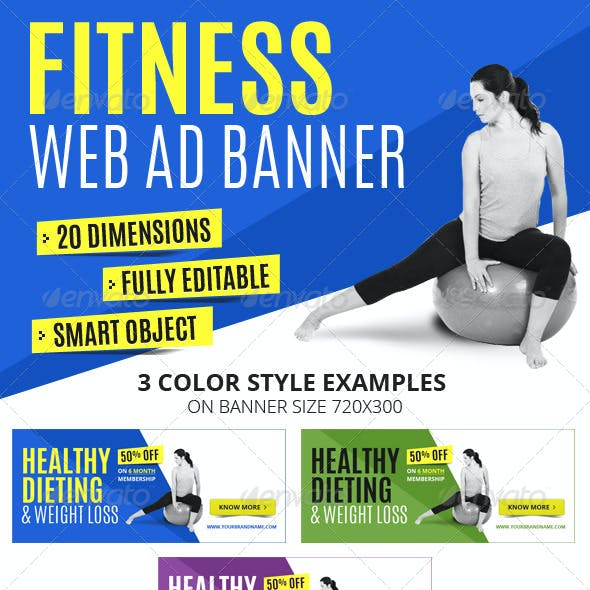 Multipurpose Fitness Web Ad Banners