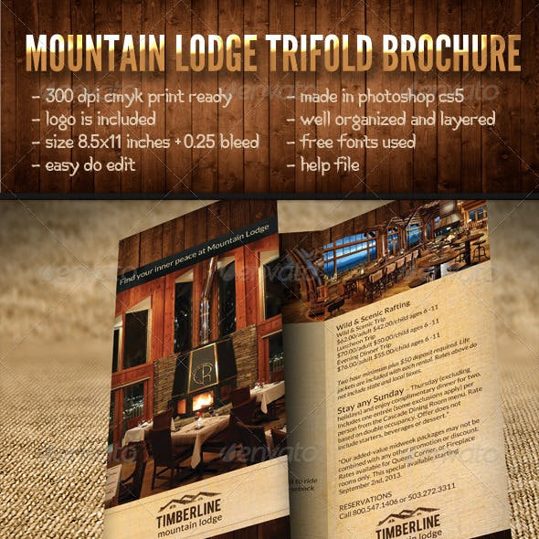 Mountain Lodge Trifold Brochure
