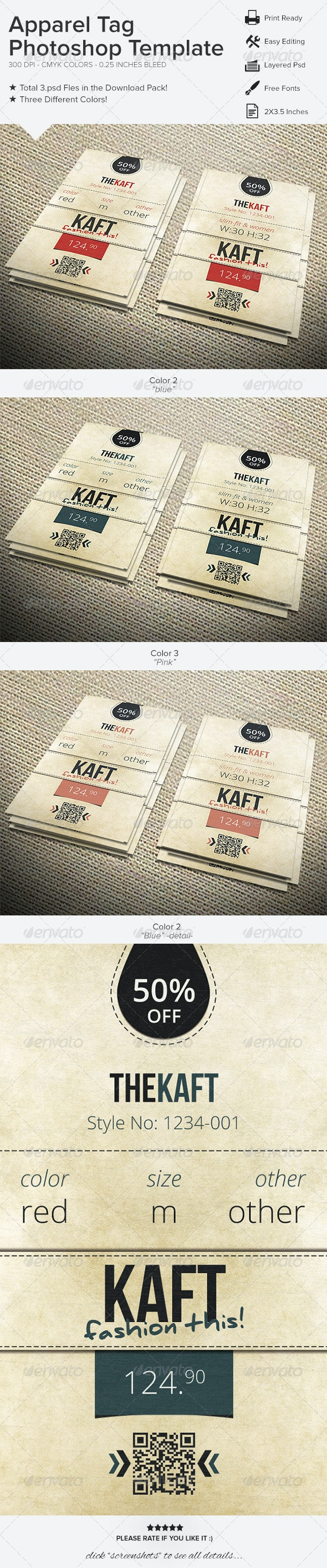 Apparel Tag Photoshop Template - Miscellaneous Print Templates