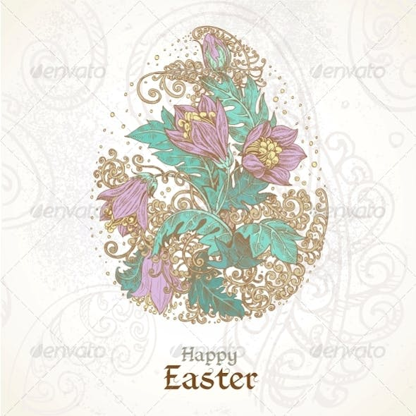 Easter Background with Delicate Egg From Flowers