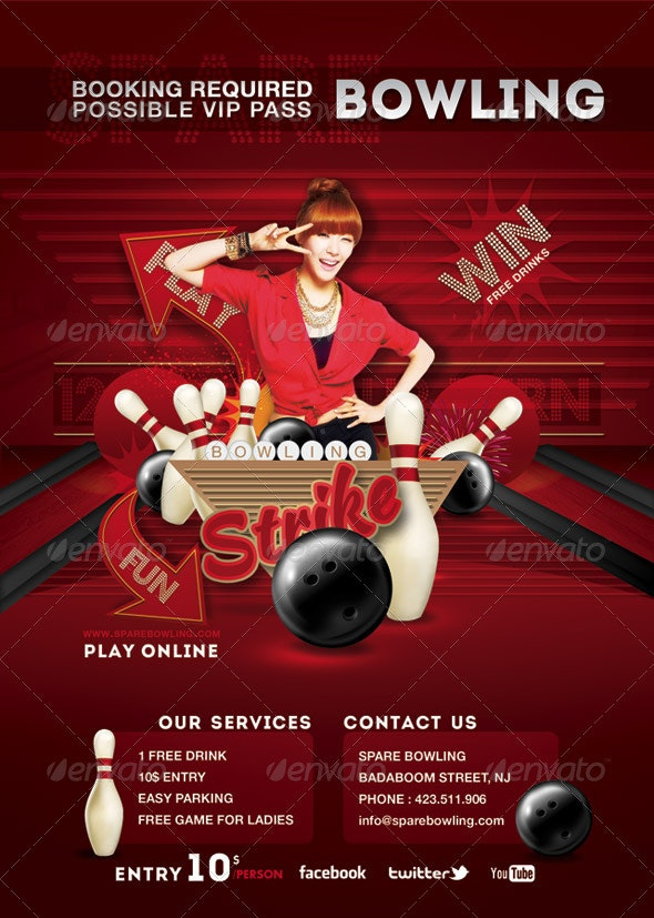 Flyer Bowling Evening Game Party - Sports Events