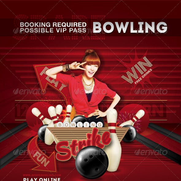 Flyer Bowling Evening Game Party