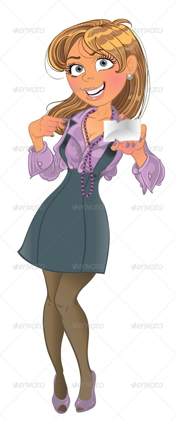 Businesswoman with Business Card - People Characters