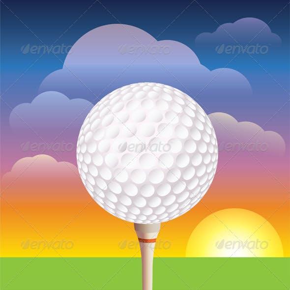 Vector Golf Ball on Tee Background