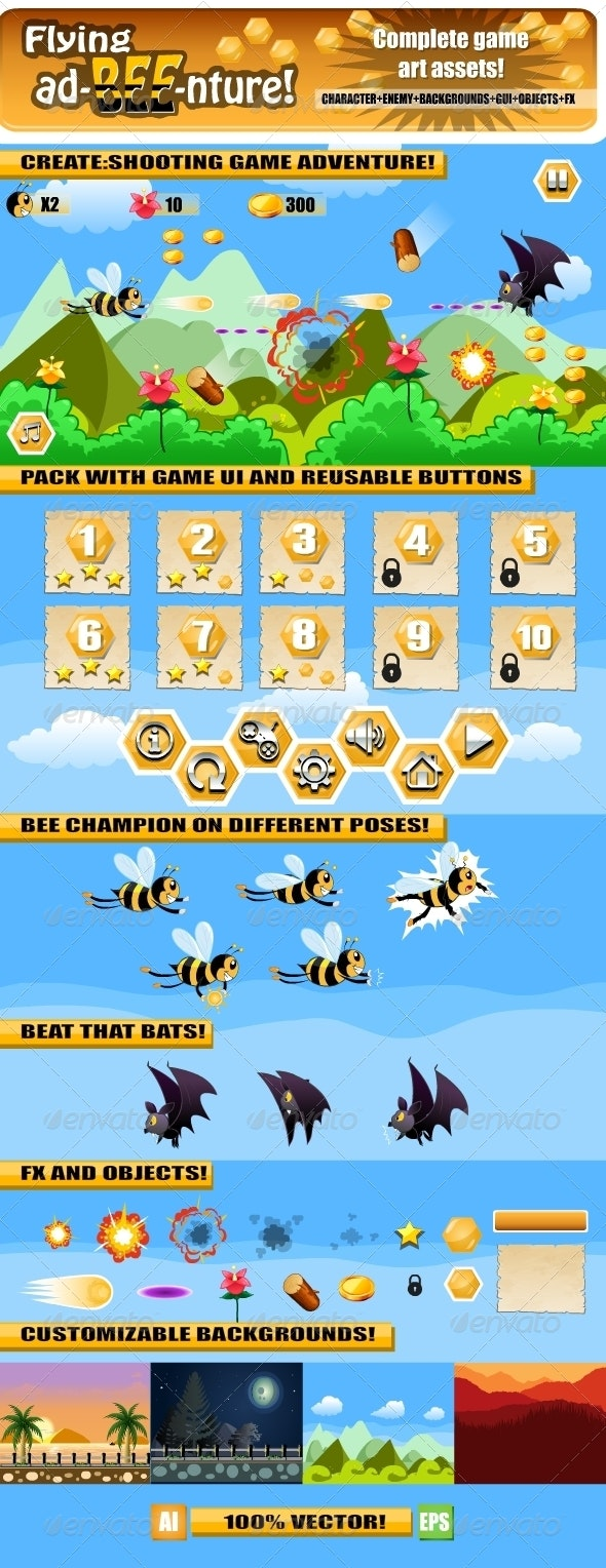 Bee Adventure Game Assets - Game Kits Game Assets