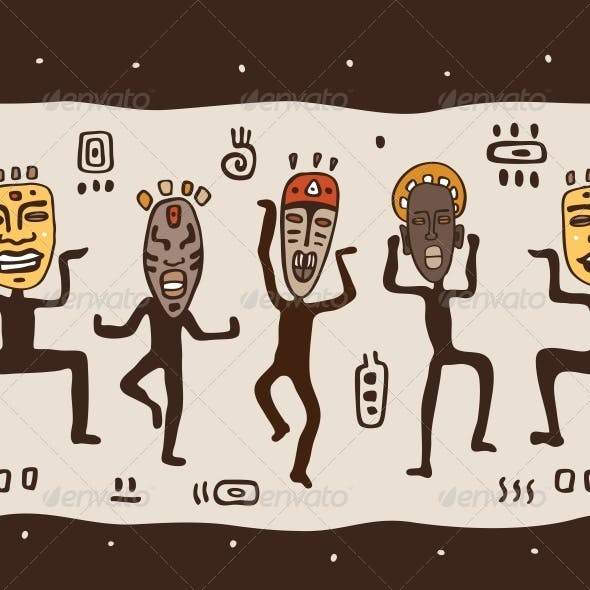 Dancing Figures Wearing African Masks