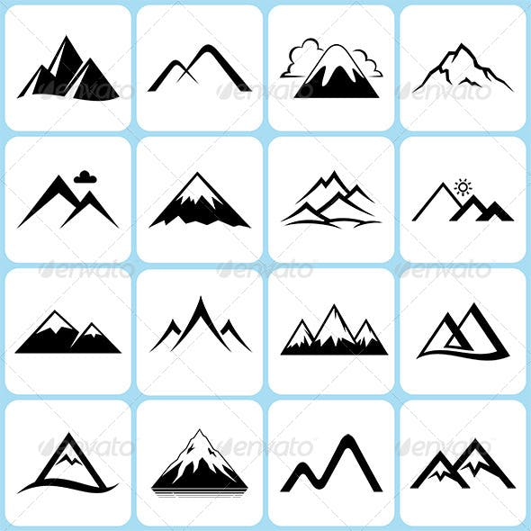 16 Mountain Icons Set