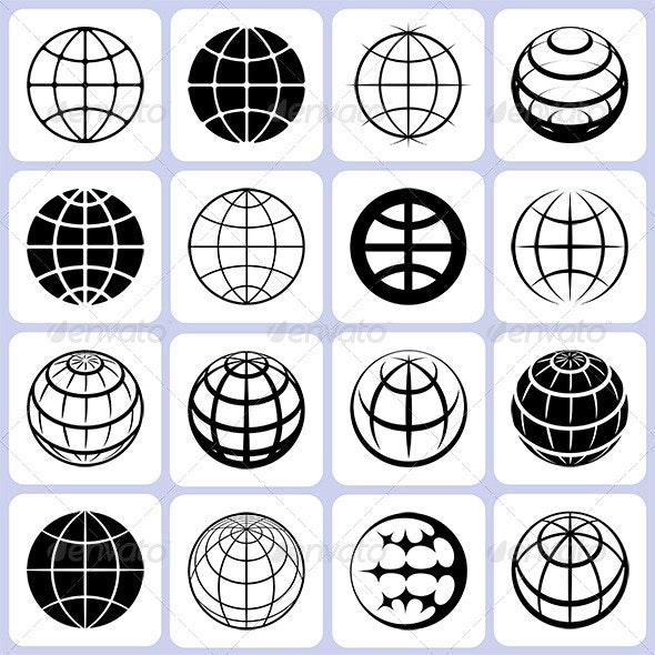 16 Globe Icons Set - Miscellaneous Conceptual