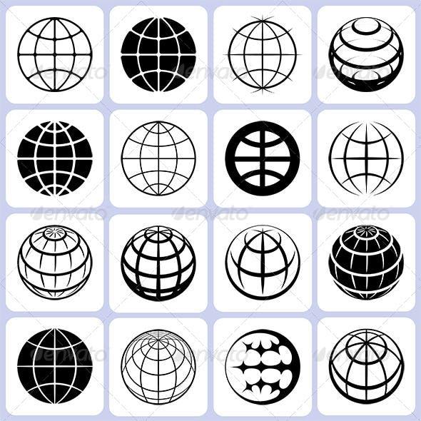 16 Globe Icons Set