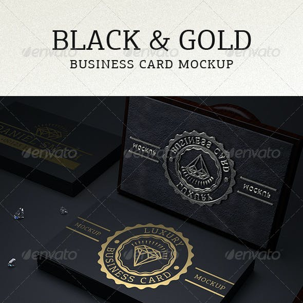 Photorealistic Black & Gold Business Card Mock Up