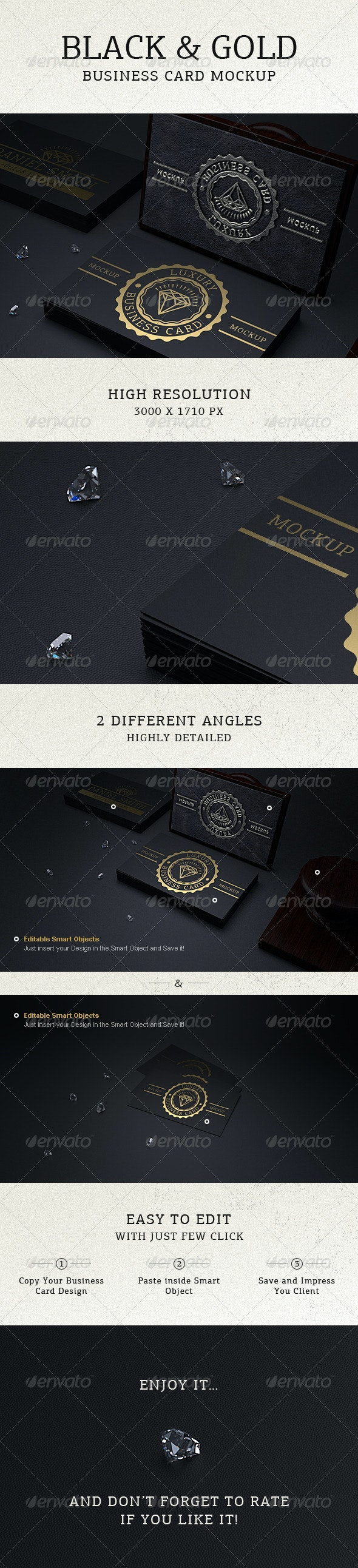 Photorealistic Black & Gold Business Card Mock Up - Business Cards Print