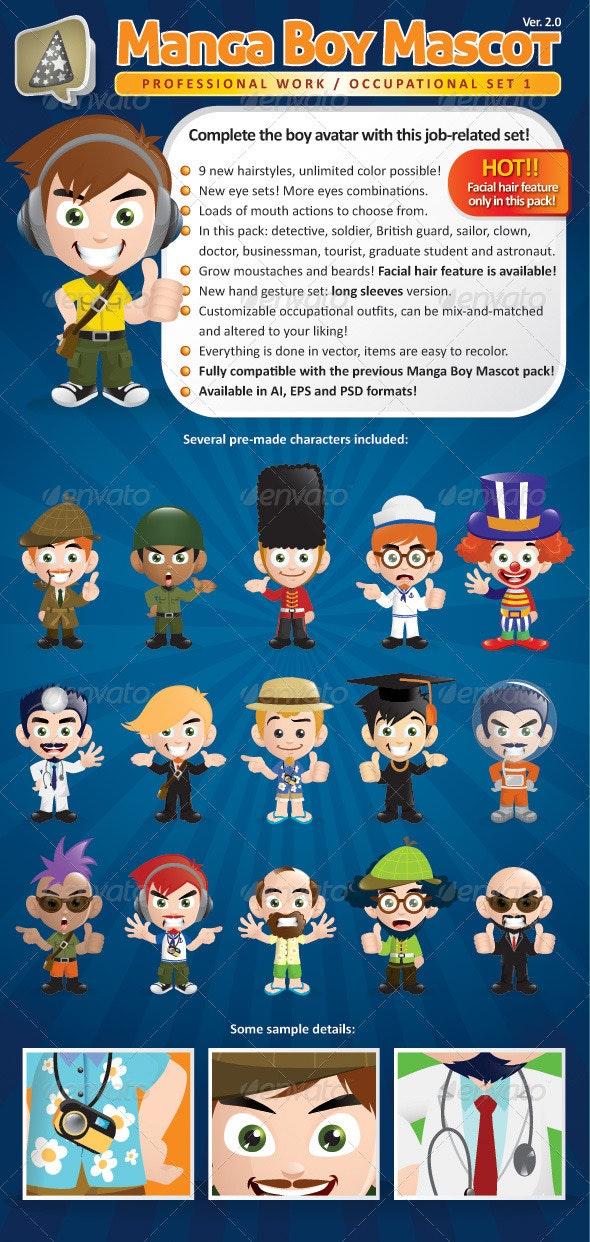 Manga Boy Mascot Creation Kit - Occupational Set - Characters Vectors