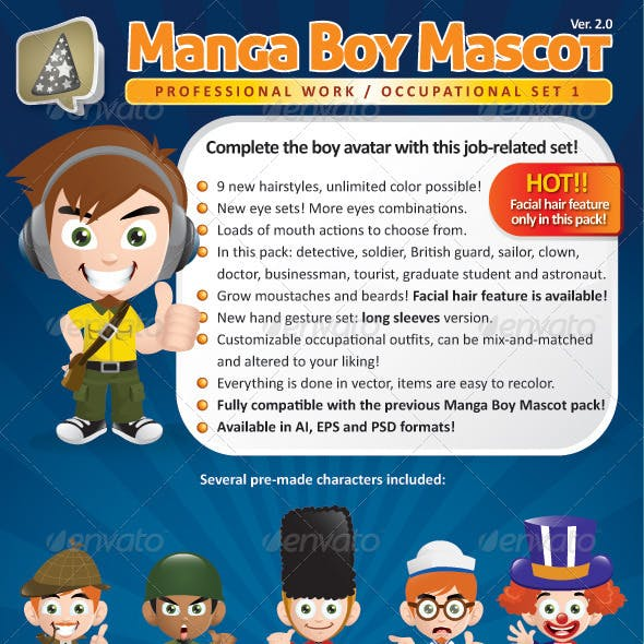 Manga Boy Mascot Creation Kit - Occupational Set