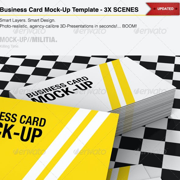 Business Card Mock-Up Template With Various Scenes