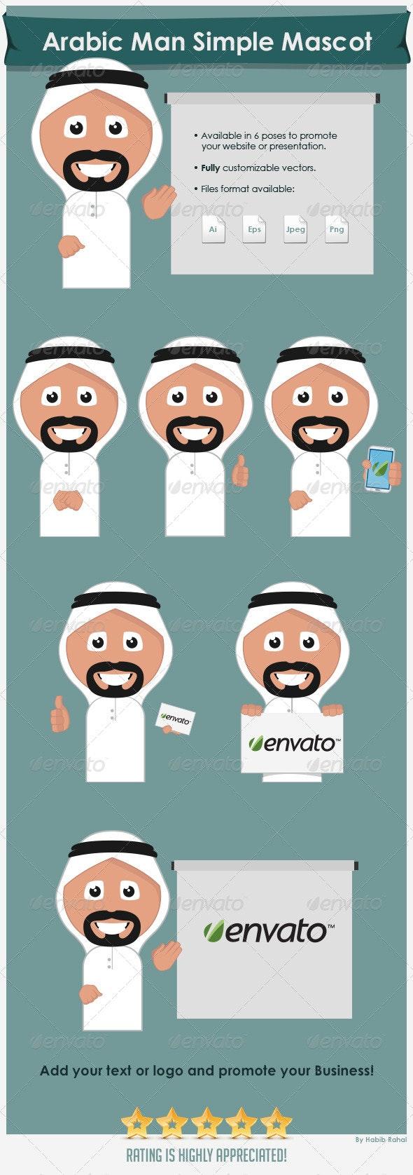 Arabic Man Simple Mascot - People Characters