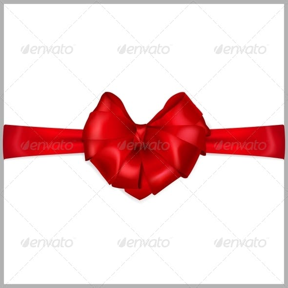 Red Bow Heart Shaped