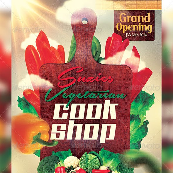 Vegetarian Cook Shop Promotional Flyer