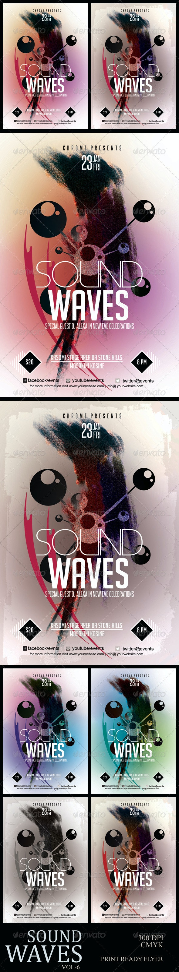 Sound Waves PSD Flyer 6 - Clubs & Parties Events
