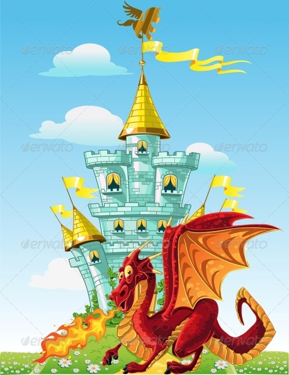 Dragon Near the Blue Magic Castle - Buildings Objects