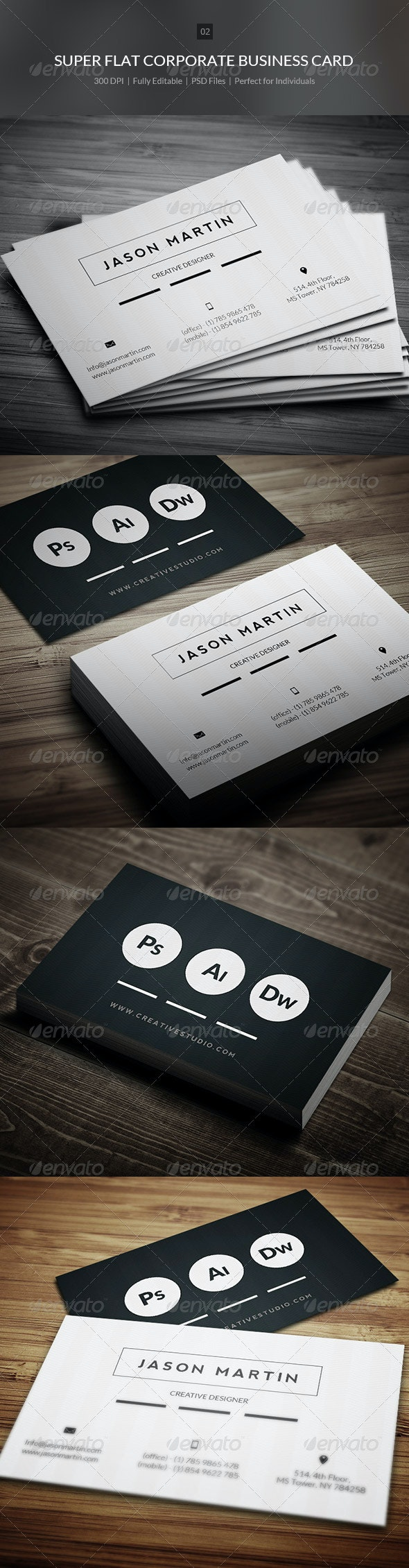 Super Flat Corporate Business Card - 02 - Corporate Business Cards