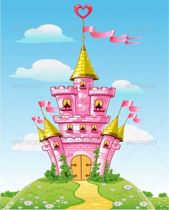 Magical Fairytale Pink Castle With Flags By Azuzl Graphicriver
