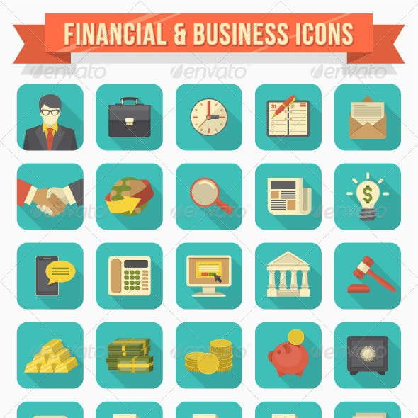 Modern Flat Financial and Business Icons