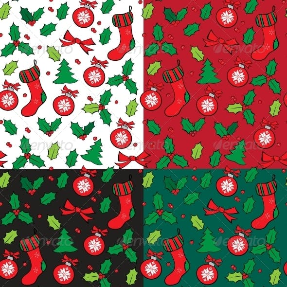 Set of Christmas Seamless Pattern with Holly.