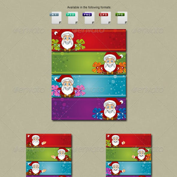 Christmas Banners with a Santa Claus