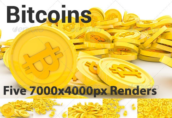 Pile of Bitcoins - Technology 3D Renders