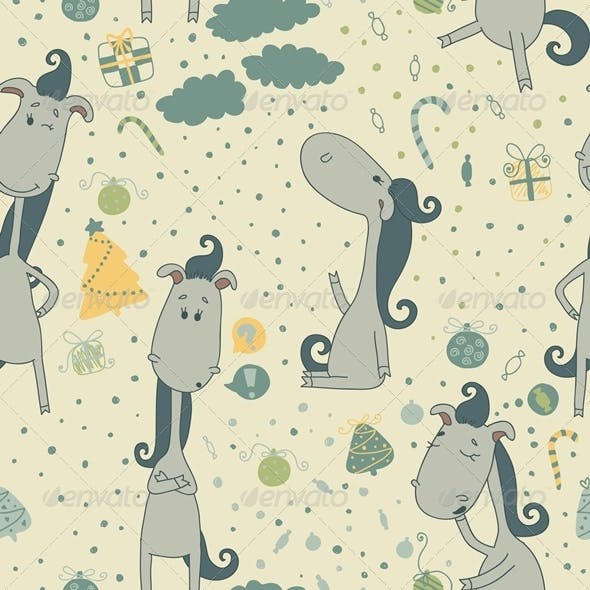 Seamless Pattern with Cartoon Horse.